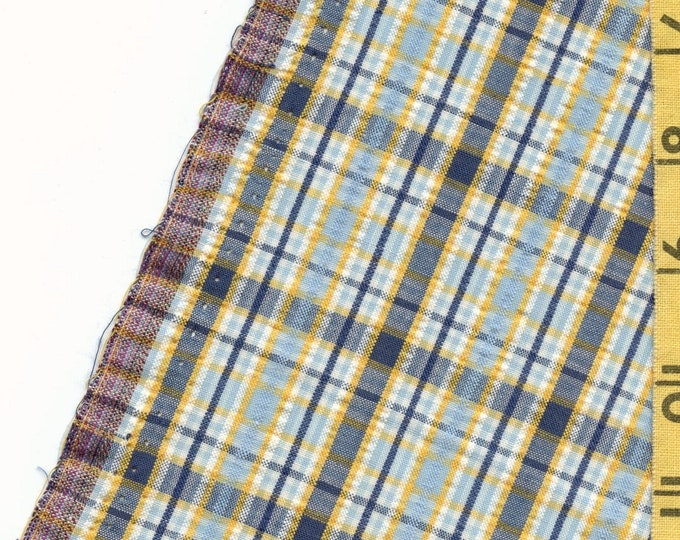 Seersucker fabric vintage, plaid geometric summer cotton