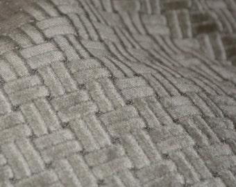 1970s Modern minimalist Velvet upholstery fabric, silver short pile