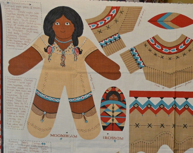 Native American doll fabric panel, cut and sew doll