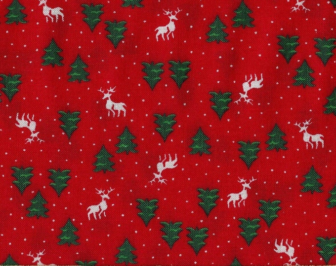 Retro Christmas fabric, Small scale reindeer VIP Cranston