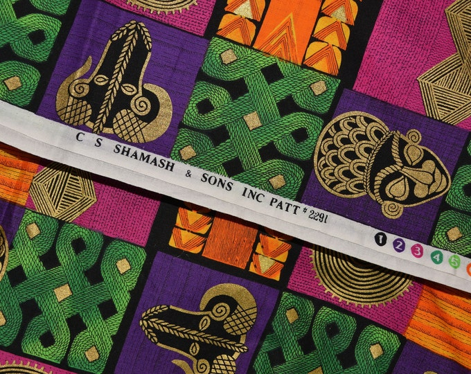 100 % cotton mod tribal masks fabric by the yard, Shamash and Sons