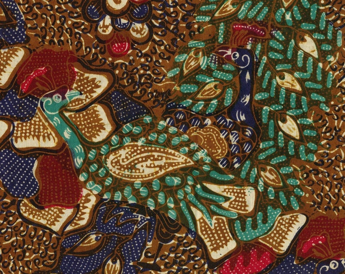 Antique Batik Tulis fabric, Java Batik peacocks