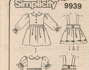 Vintage Simplicty Pattern 9939 Size A, dress and pinafore