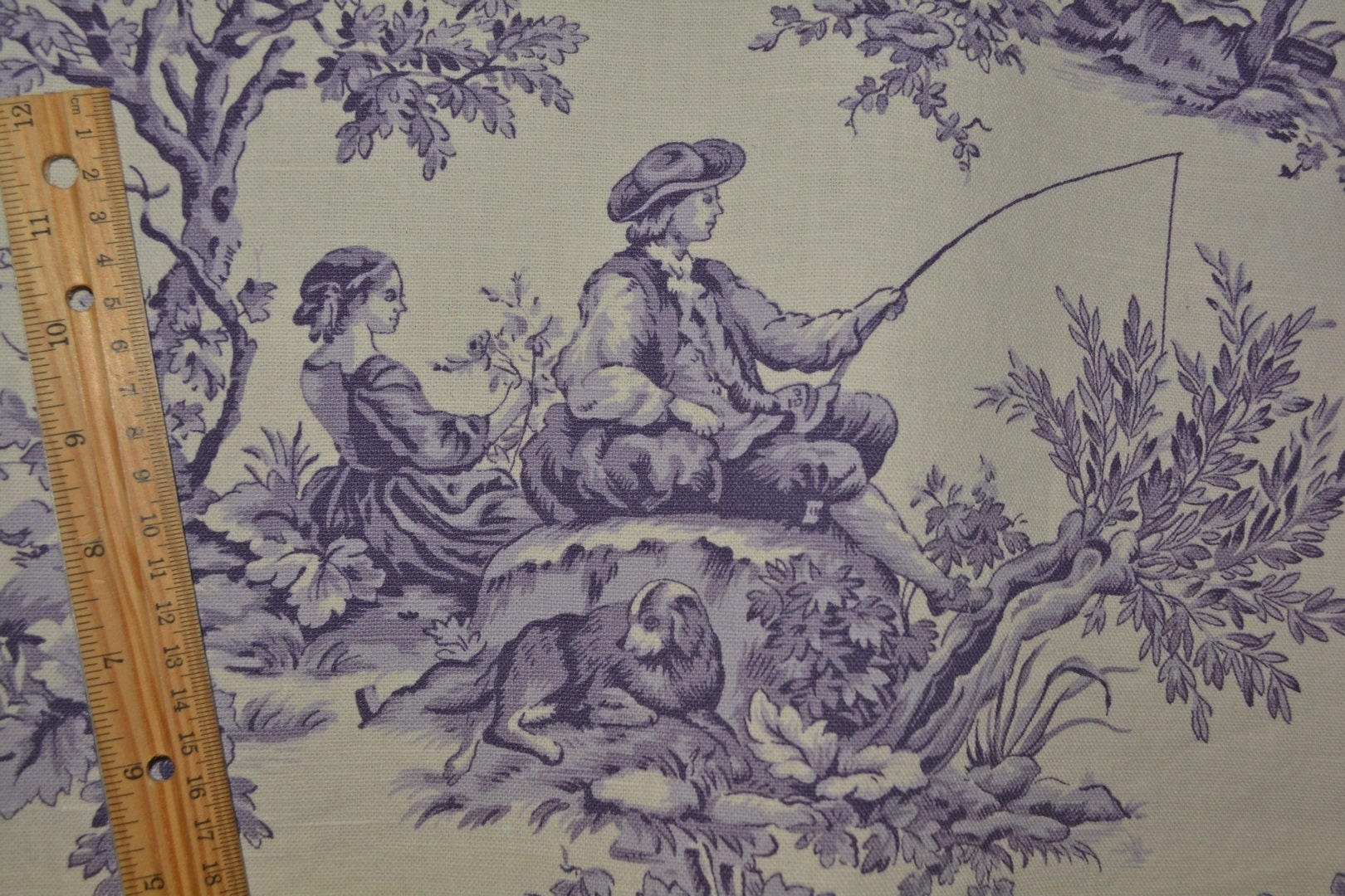 Purple Toile Du Jouy Laura Ashley Upholstery Fabric Scenic People