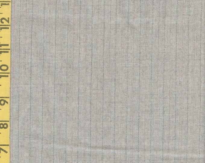 Pinstriped wool, fine worsted wool fabric half yard