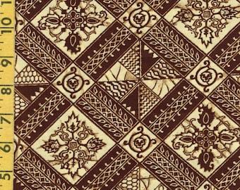 Ethnic Geometric print fabric by the yard, vintage 1970s fabric