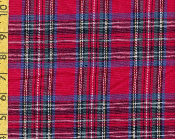 Tartan Plaid brushed cotton fabric by the yard, for lumberjacks, cabin, rustic quilting