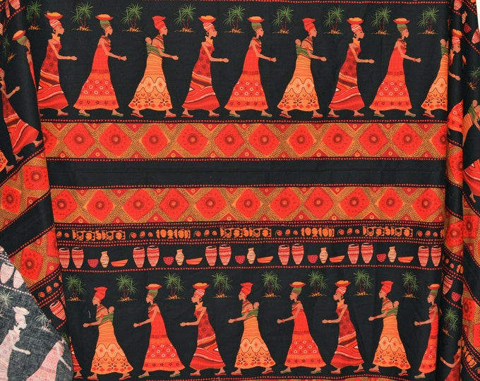 Tribal women of color fabric Going to Market Michael Miller double border print