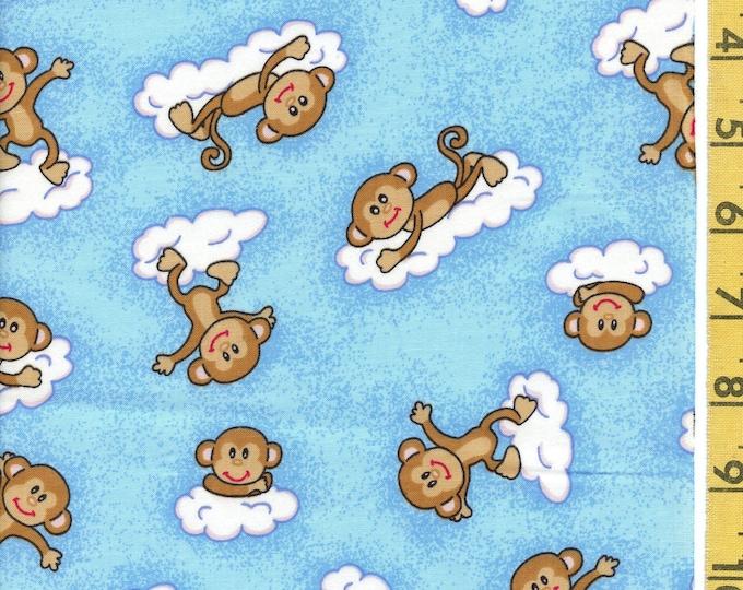 Whimsical monkeys fabric for baby, half yard