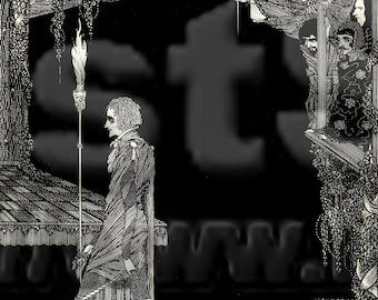 Downloadable Harry Clarke Goth sketch Poe Tales of Mystery