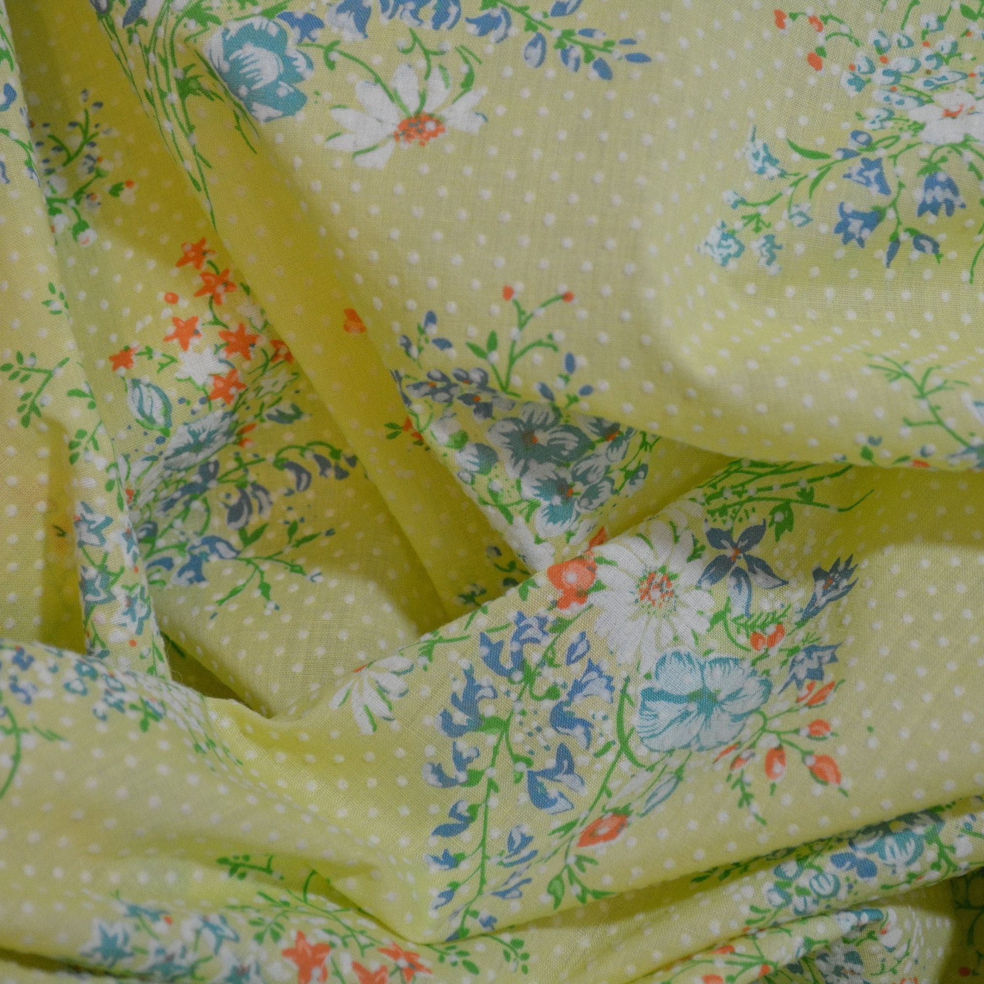 Vintage fabric, Flocked dot fabric, Flocked dotted Swiss
