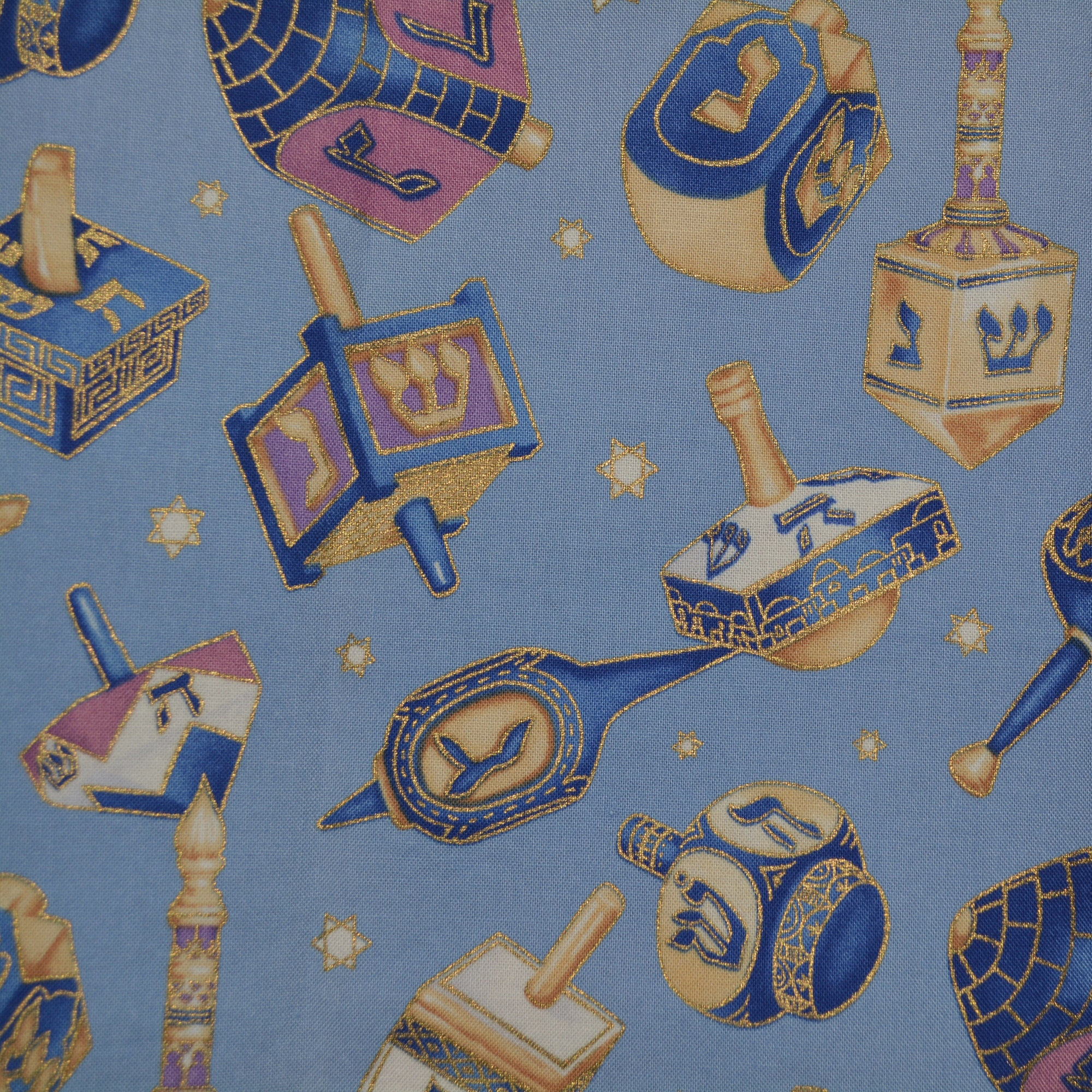 Dreidel Fabric hanukkah Gold and Blues By the Yard