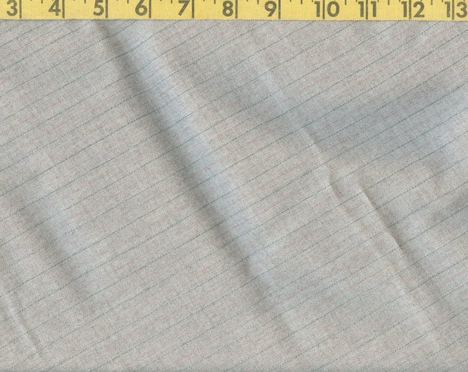 Tropical worsted wool yardage, ight grey pinstriped