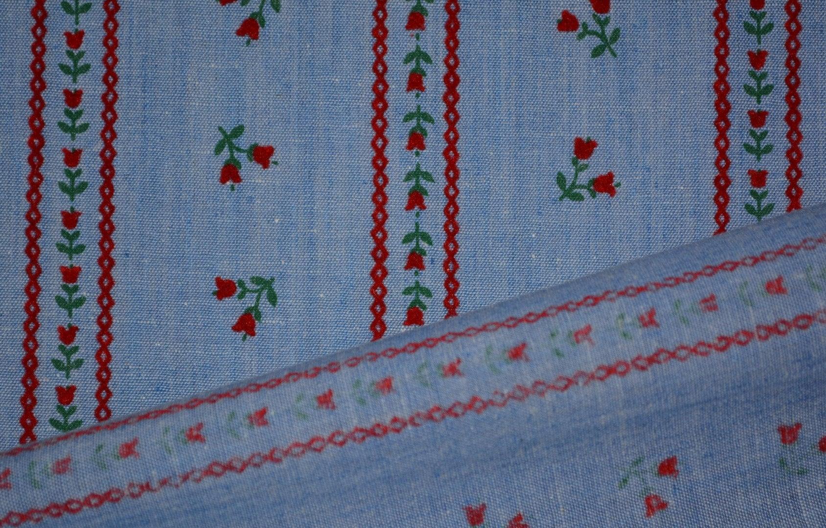 Vintage flock fabric red flocked floral