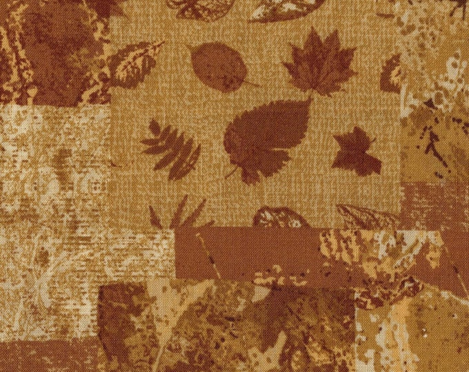 Golden leaves fabric, Cloud Nine collage style cotton screen print only leaves