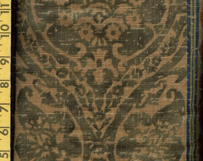 Linen upholstery fabric French fleur de lis stripe, decorator Anju Woodridge rare