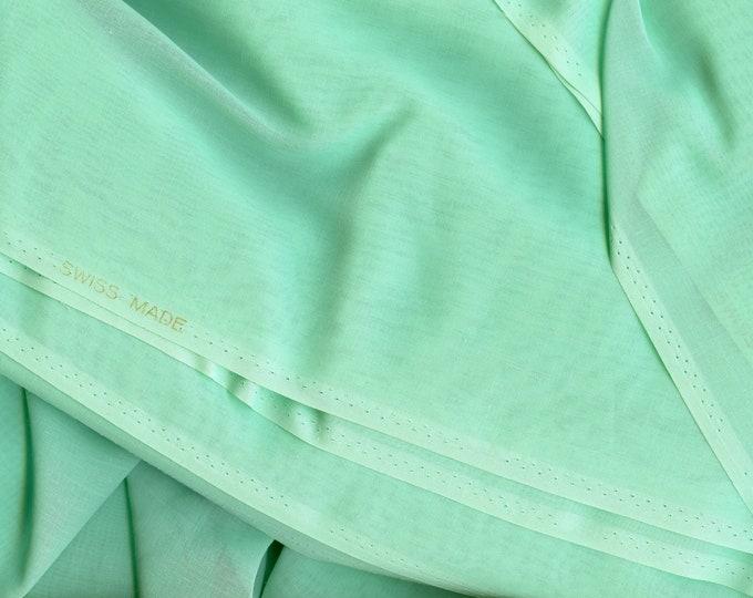 Swiss Organdy cotton fabric by the yard, seafoam