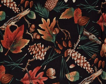Rare Alexander Henry fabric Naturescape fabric Thanksgiving fabric Autumn decor fabric Harvest fabric Fall leaves pine cones Forest Floor