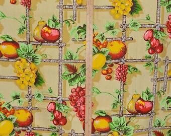 Fruit fabric on trellis, 1970s fabric canvas decorator weight