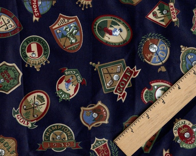 Golf tossed club emblems fabric, 1990s preppy chintz cotton fabric by the yard