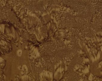 Brown tie dyed batik fabric, aqueous print for nature blender