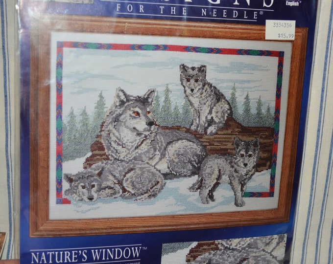 Counted cross stitch kit, Call of the Wild wolf theme