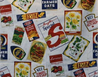 Grocery Novelty Print fabric sample, cotton with food labels tossed
