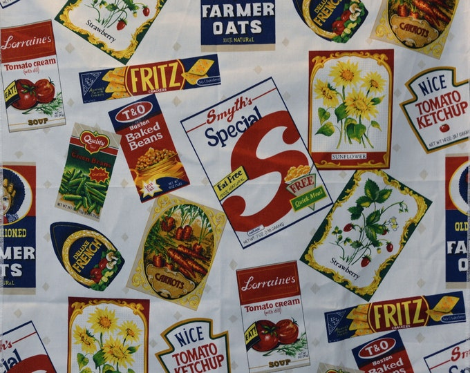 Novelty Print produce grocery store labels fabric sample