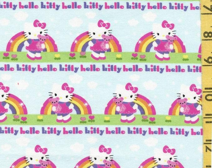 100 % cotton Hello Kitty fabric, rainbows