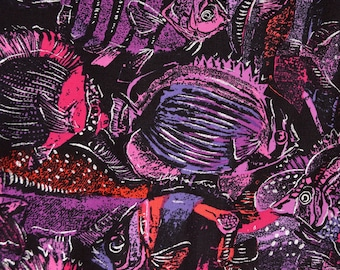 Tropical fish fabric, bright color fish, Pisces lover