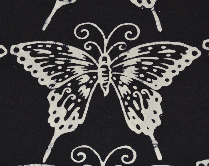 Batik butterfly fabric, large scale butterflies, one yard