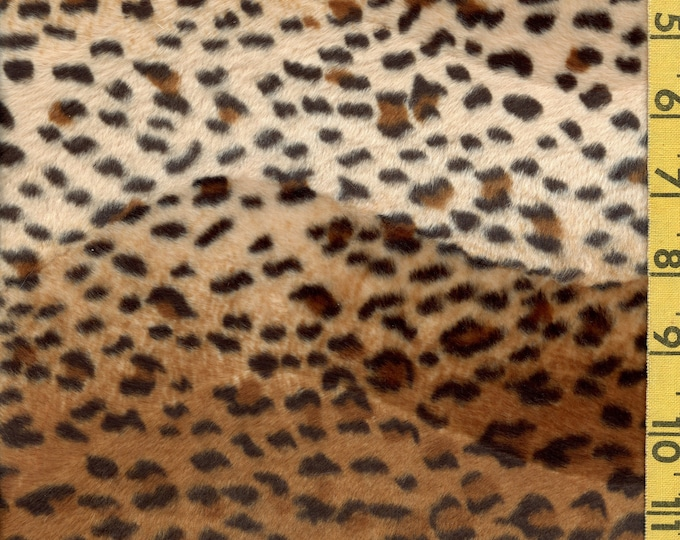 Faux fur fabric remnant, leopard print velboa fabric with slight weft stretch for costuming, hats, collars, purses, pillows