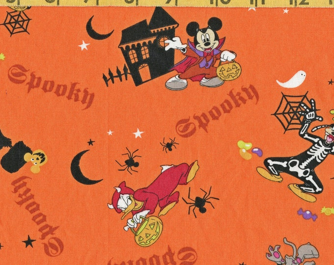Vintage Mickey Mouse Halloween fabric remnant