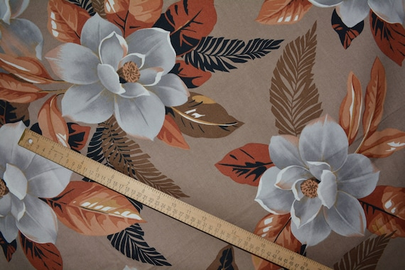Vintage Magnolia Bloom Upholstery Fabric By The Yard Large Etsy