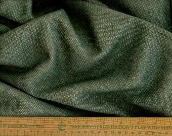 Girl Scout green lightweight tweed wool fabric, multicolor flecks, vintage wool