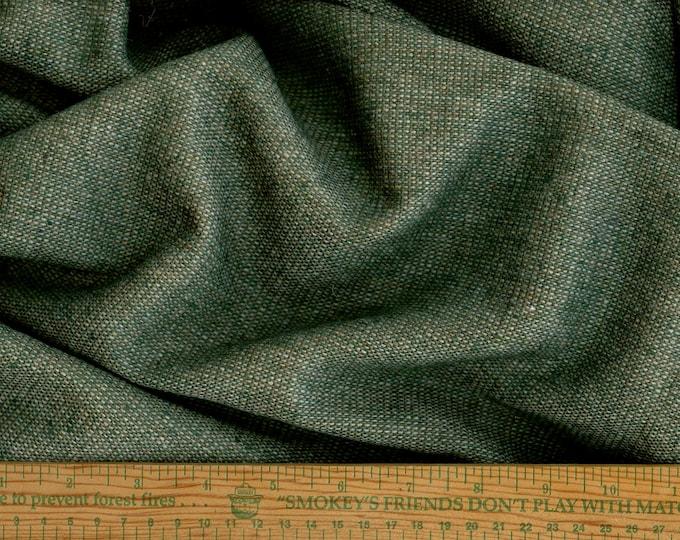 Evergreen tweed wool fabric by the yard