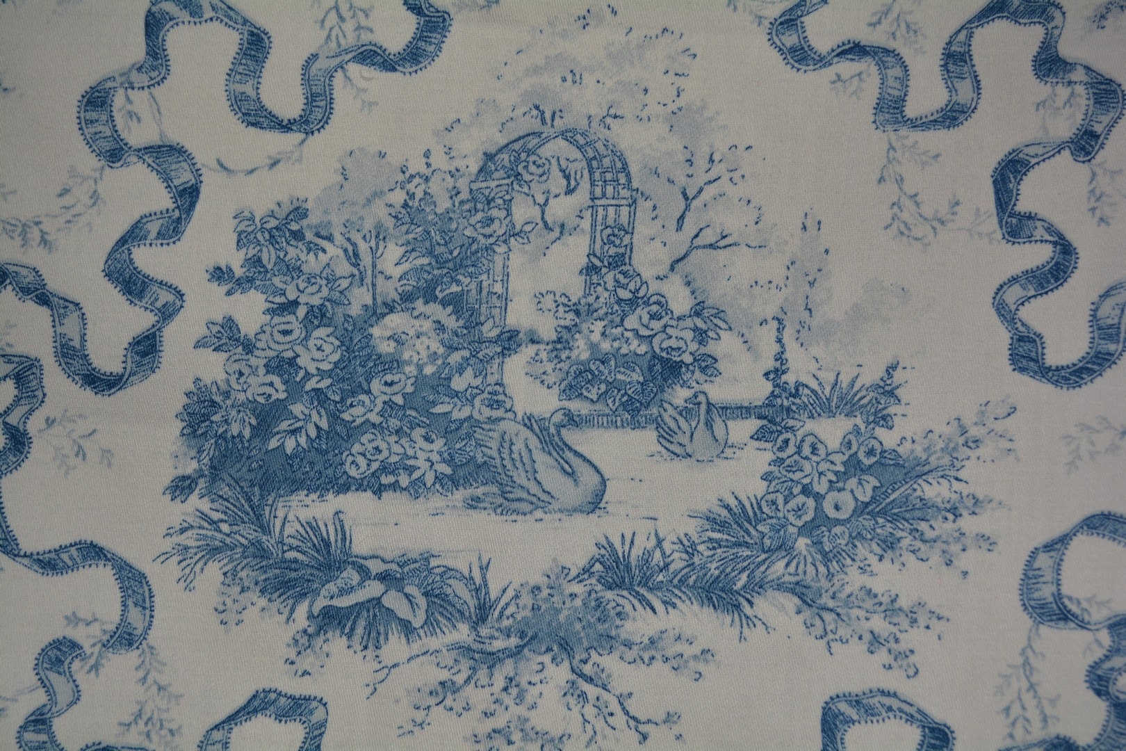 Vintage Waverly Upholstery Fabric Swan Lake Made In Usa