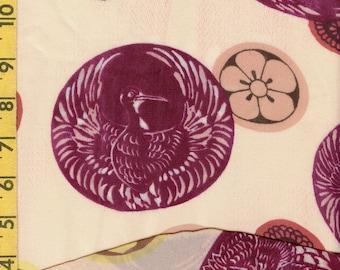 Japanese mon print sheer fabric nylon organza
