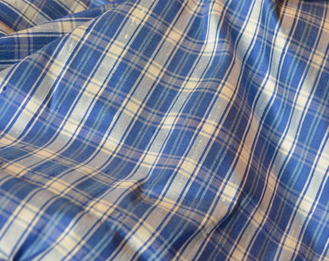 Pure Silk vintage fabric, dupioni plaid fabric