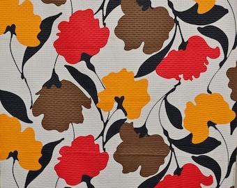 Vintage mod floral fabric, Marimekko style, THC Hawaiian vintage fabric