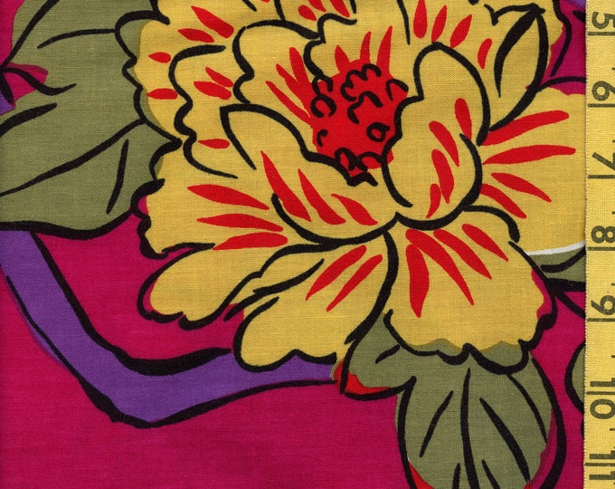 Large floral print vintage fabric in Spring palette cotton yardage