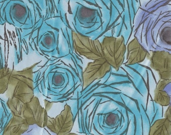 vintage 1970s fabric, painterly floral, poly satin