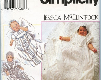 Pattern Simplicity Babies Christening Gown, Jessica McClintock 1990s uncut never used