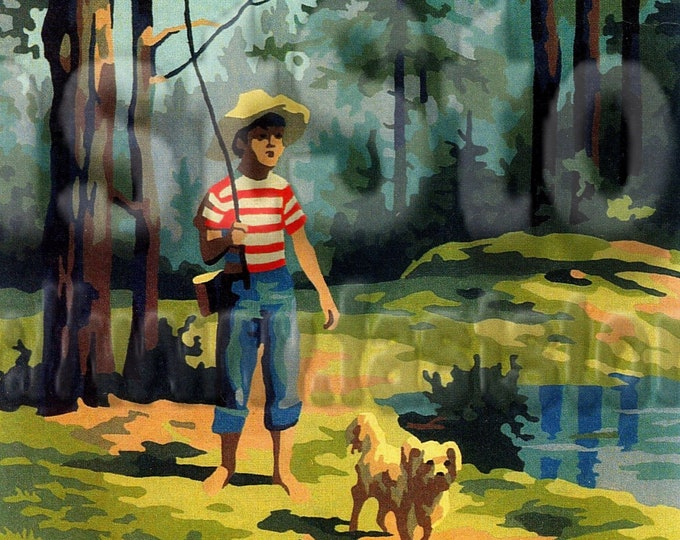 Downloadable paint by number boy and dog going fishing for junk journal, vintage images cardmaking