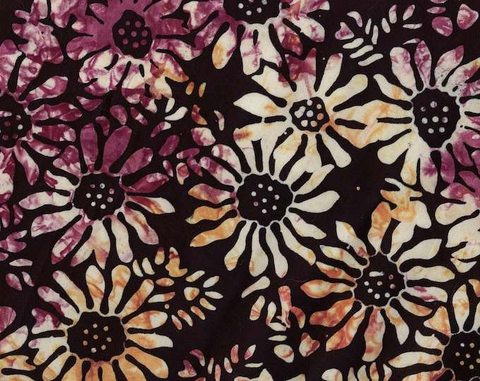 Summer Floral fabric, batik fabric with daisies