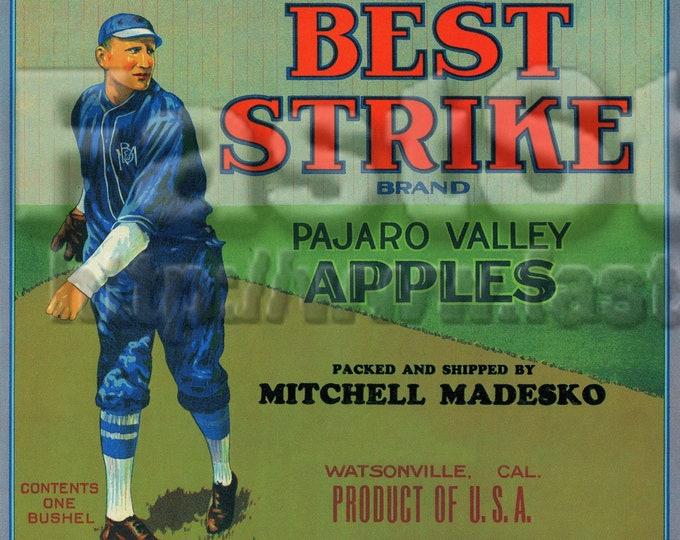 Download files, Vintage baseball apple fruit crate label, JPG PNG TIFF