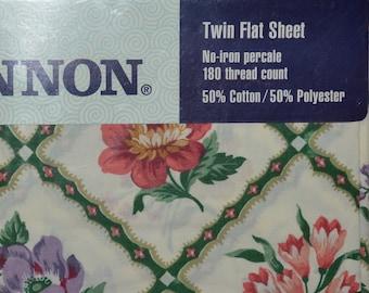 Cottagecore decor Twin flat sheet, Cannon caress sheet