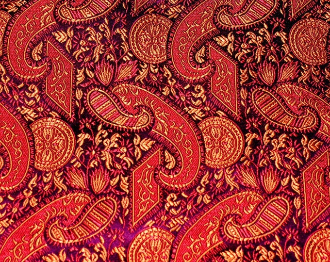 Ornate brocade fabric with embroidered paisley, Chinese brocade