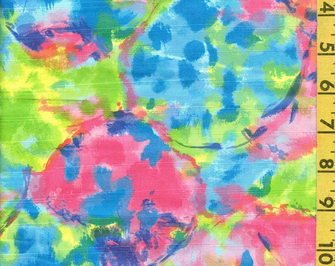 1960s mod fabric, watercolor blended fabric yardage 36 inch wide
