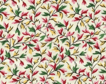 Winding vines and leaves fabric, micro small scale fabric 100% cotton